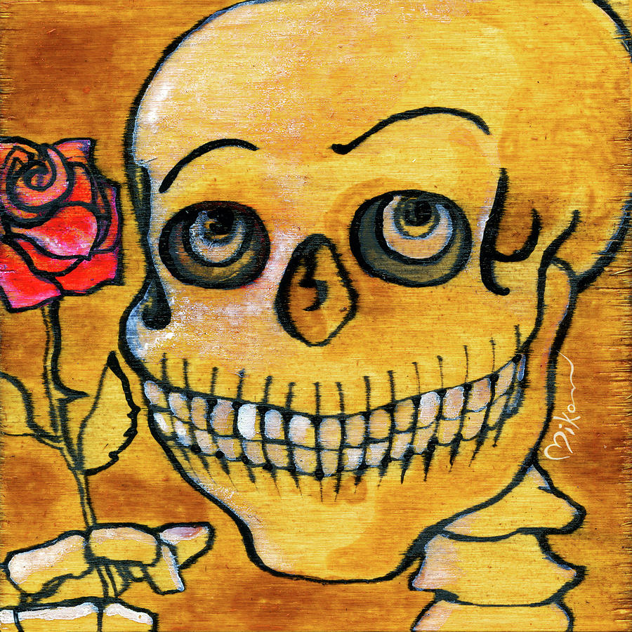 Day Of The Dead Painting - Corazon Sugarskull Holding Rose by Miko Zen