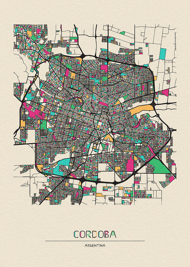 Cordoba Drawing - Cordoba, Argentina City Map by Inspirowl Design