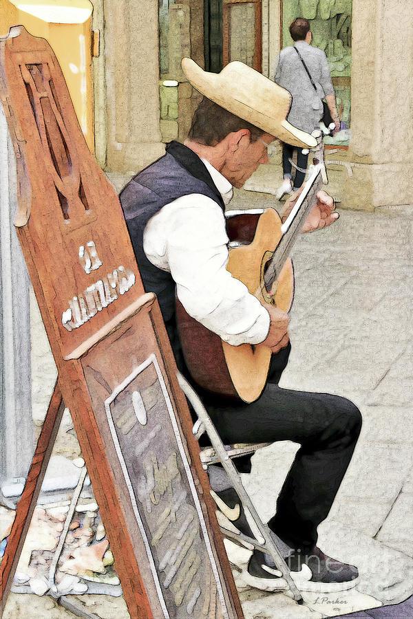 Corfu Street Musician by Linda Parker