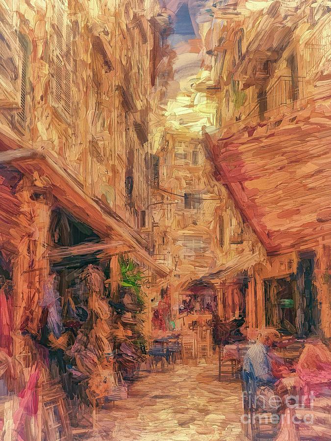 Corfu Town street scene by Leigh Kemp
