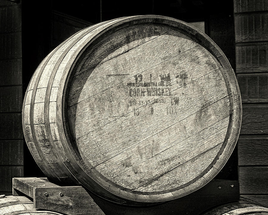 Corn Whiskey Barrel Head in Black and White by Bill Swartwout Photography