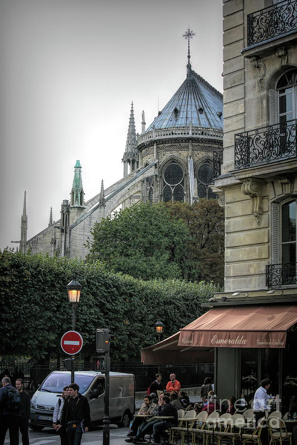 Corner French Cafe Notre Dame Paris  by Chuck Kuhn