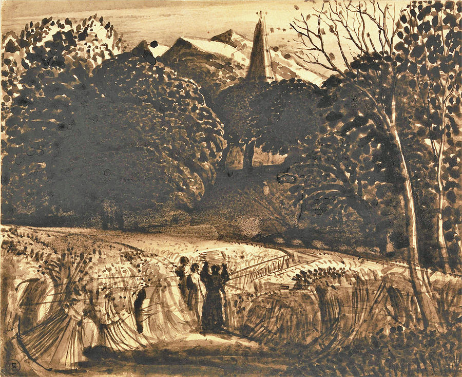 Samuel Palmer Painting - Cornfield And Church By Moonlight - Digital Remastered Edition by Samuel Palmer