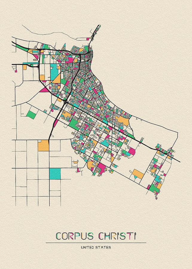 Corpus Christi, Texas City Map by Inspirowl Design