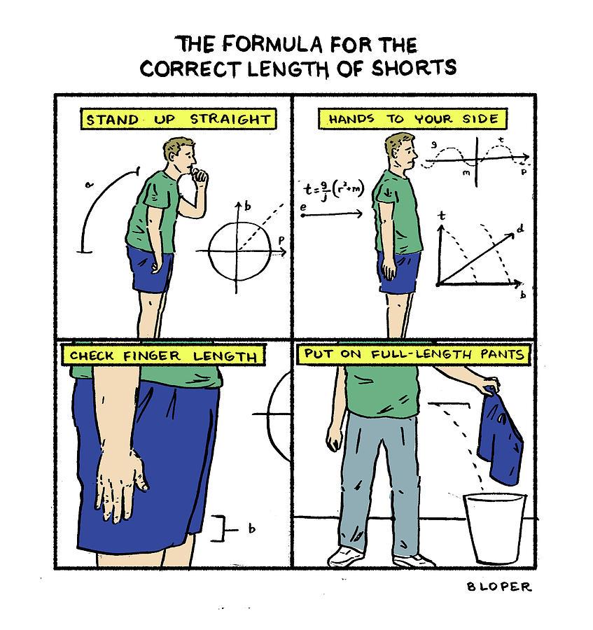 Correct Length of Shorts Drawing by Brendan Loper