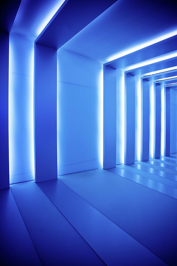 Corridor With Blue Columns Photograph by Nikada