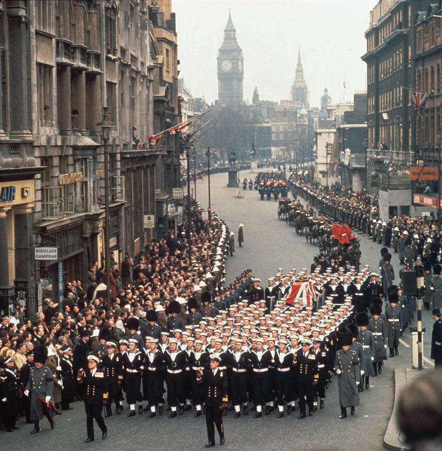 Marching Photograph - Cortege In Whitehall by Fox Photos