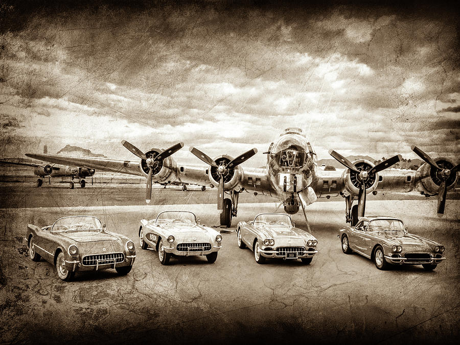 Corvettes And B17 Bomber -0027cl2 Photograph by Jill Reger
