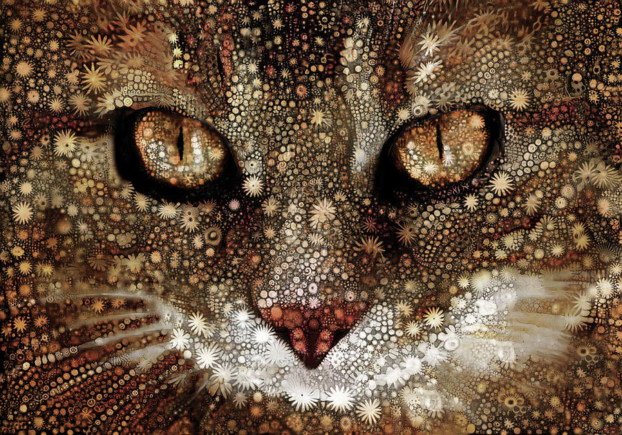 Cosmic Cat in Gold by Peggy Collins
