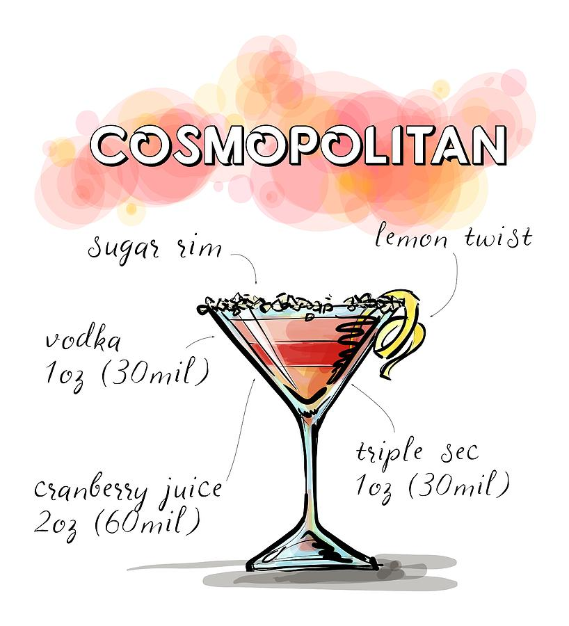 Cosmopolitan Cocktail Recipe Digital Art By David Rice