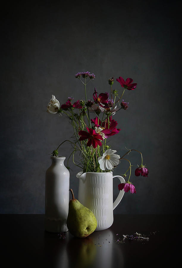 Cosmos Photograph - Cosmos & Pear by Fangping Zhou