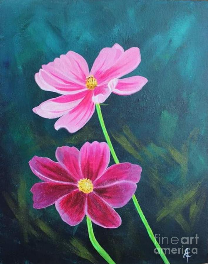 Cosmos Flower Painting By Ivy Martin