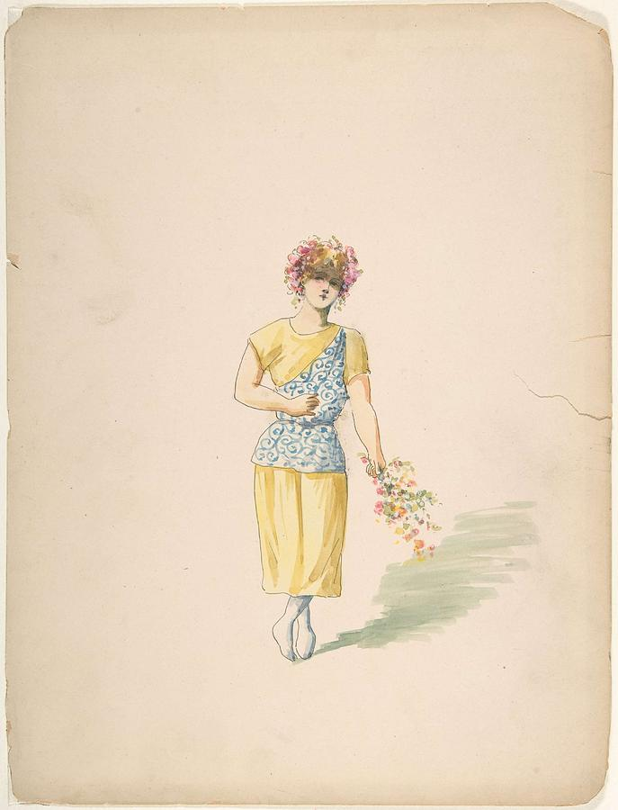 Costume For A Youth In Yellow And Blue Charles Bianchini French, Lyons 1860-1905 Paris Painting