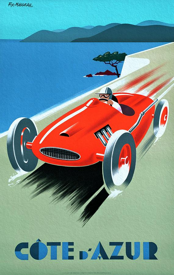 Vintage Poster Painting - Cote D Azur, French Rivera Vintage Racing Poster by Unknown