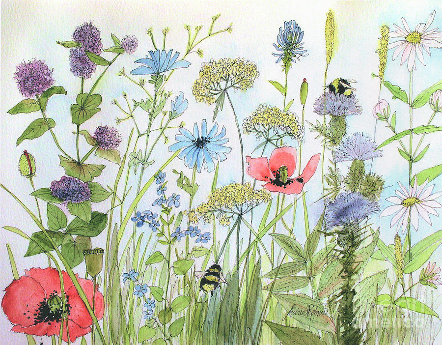 Cottage Flowers and Bees by Laurie Rohner