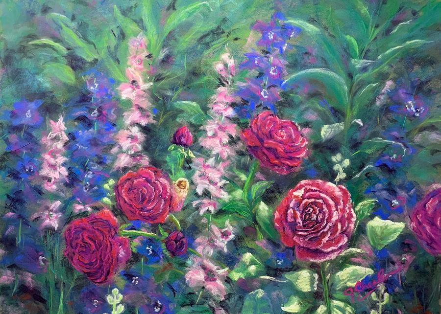 Cottage Garden Roses Painting By Jan Chesler