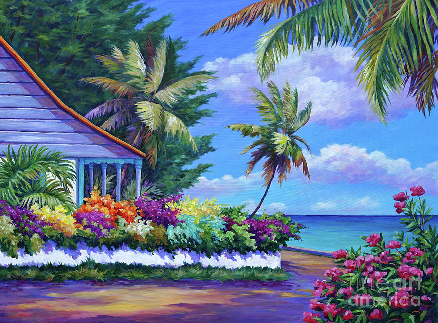 Cayman Painting - Cottage Near Eden Rock by John Clark