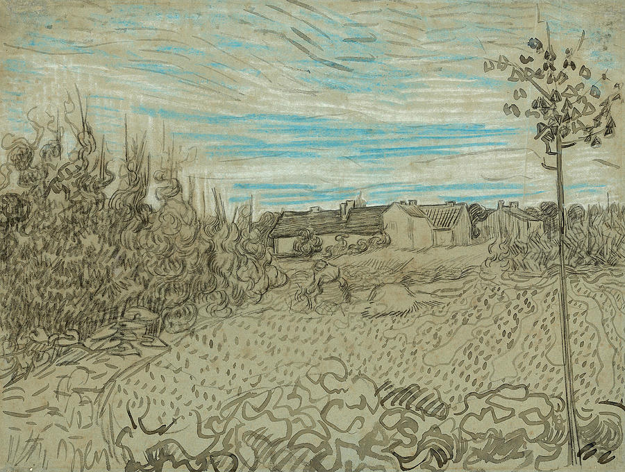 Dutch Painters Drawing - Cottages With A Woman Working In The Middle Ground by Vincent van Gogh