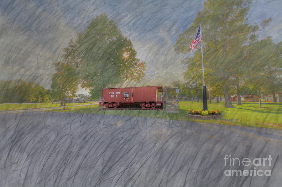 Hdr Digital Art - Cotton Belt Caboose Cambell Missouri  by Larry Braun