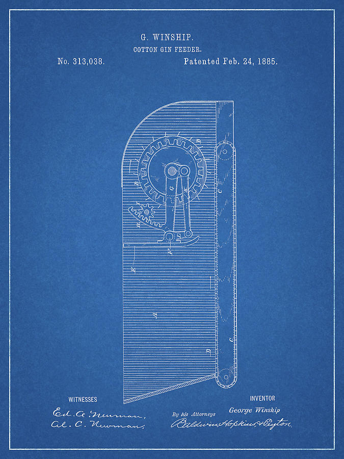 Cotton Gin Patent Drawing - Cotton Gin Feeder by Dan Sproul