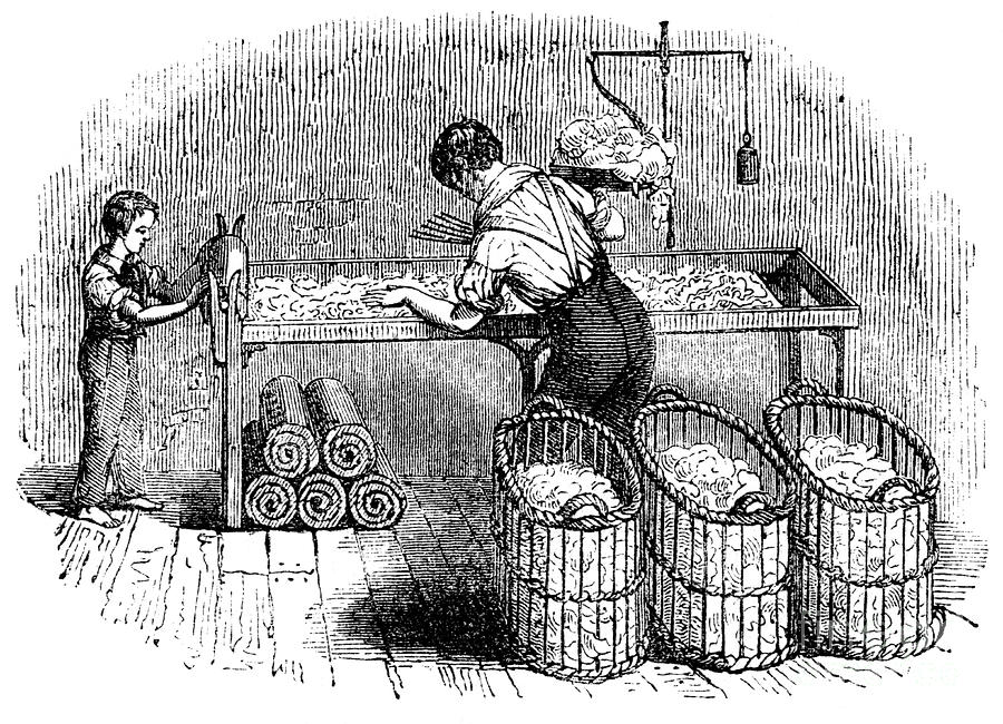 Cotton Manufacture, C1845 Drawing by Print Collector