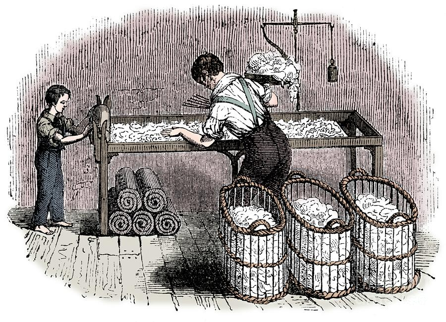 Cotton Manufacture Drawing by Print Collector