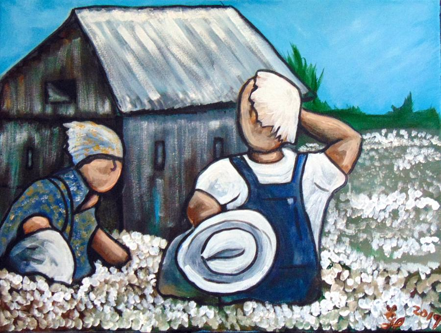 Cotton Painting - Cotton Pickers by Loretta Nash