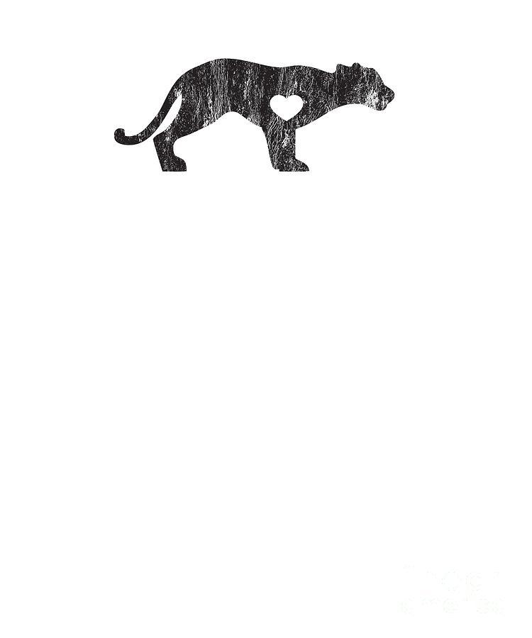 Cougar Mountain Lion Puma Big Cat Sports Mascot I Love Cougar Big Cats  Black Distressed by Henry B