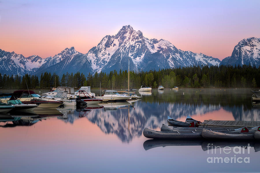 Coulter Bay Marina Sunrise Grand Teton National Park by Ronda Kimbrow