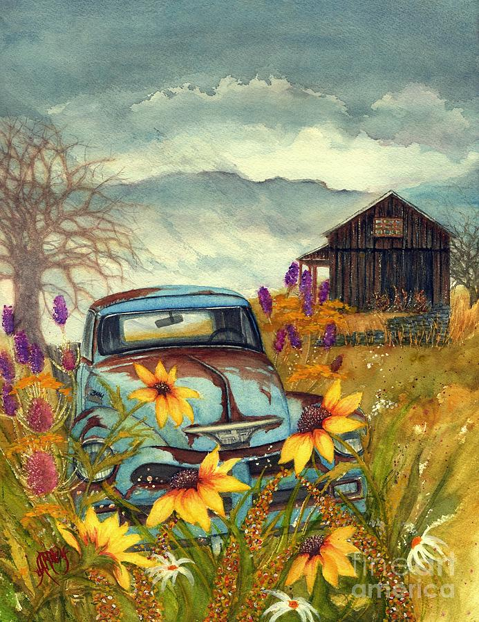 Country Blues - Dusty blue old Chevy Pick up Truck by Janine Riley