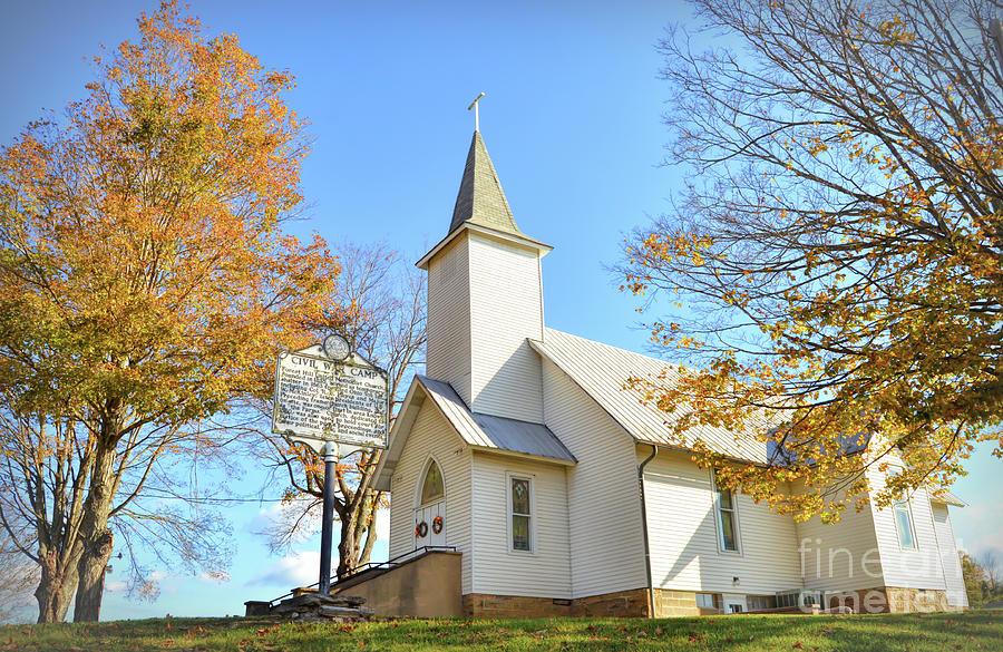 Country Church in Autumn by Kerri Farley