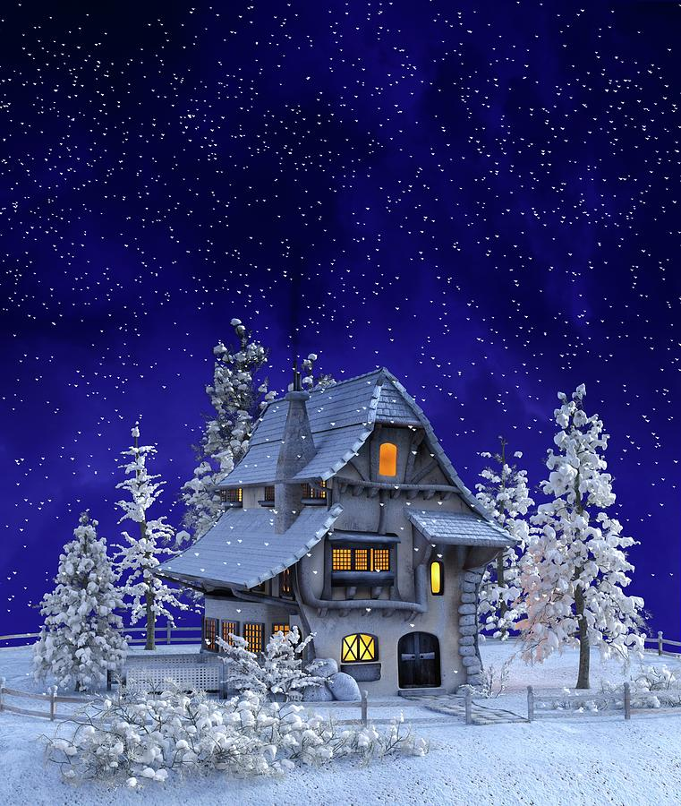 Country Cottage Snowfall by Movie Poster Prints