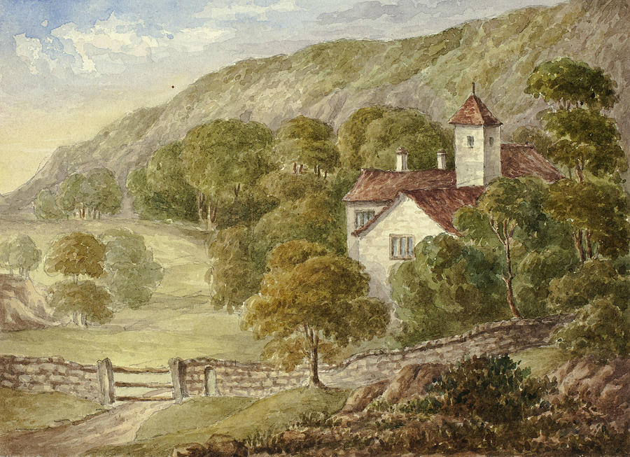 English Painters Drawing - Country Manor House by Elizabeth Murray