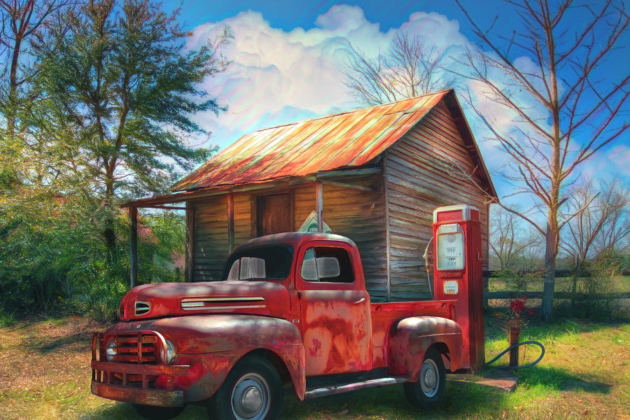 Country Olden Days Watercolor Painting by Debra and Dave Vanderlaan