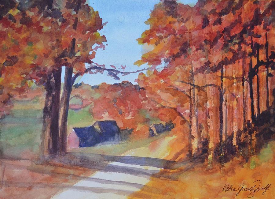 Autumn Leaves Painting by Debra Grantz Wolf