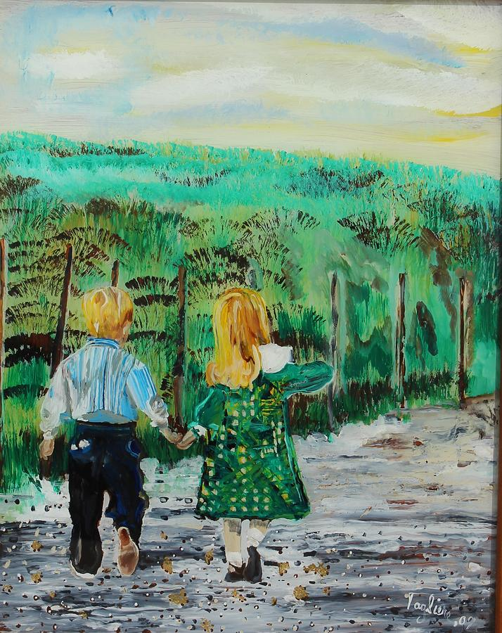 Reverse Painting On Glass Painting - Country Road by Sally Tagliere