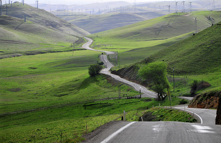 Country Road Through Green Hills Photograph by Mitch Diamond
