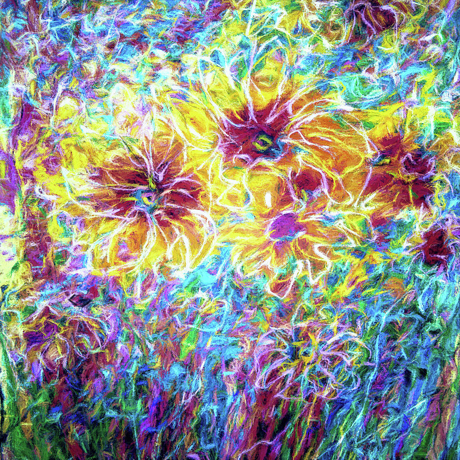 Countryside Sunflowers Abstract  by OLena Art - Lena Owens