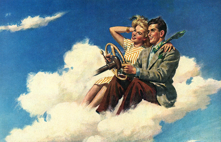 Couple Driving In Clouds Digital Art by Graphicaartis
