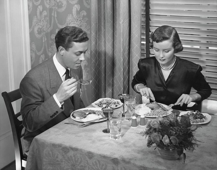 Couple Having Dinner Photograph by George Marks