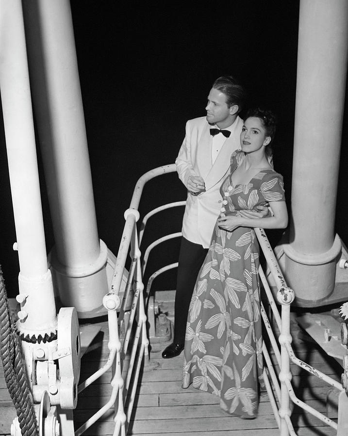 Couple In Evening Wear Photograph by George Marks
