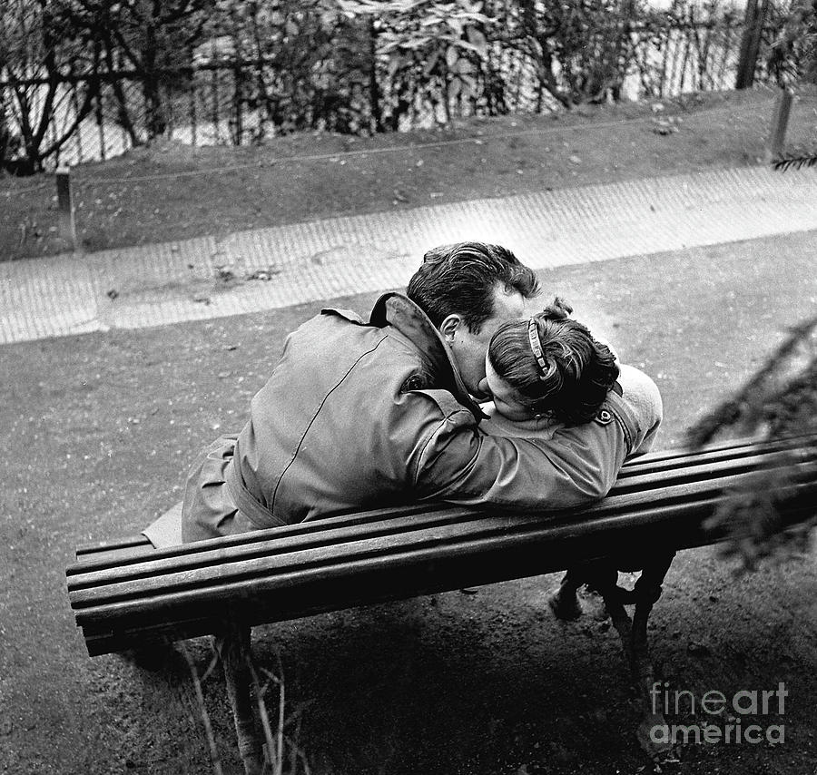 Paris Photograph - Couple Of Lovers Kissing On A Bench At The Pere Lachaise, Paris, 1955 by Gerald Bloncourt
