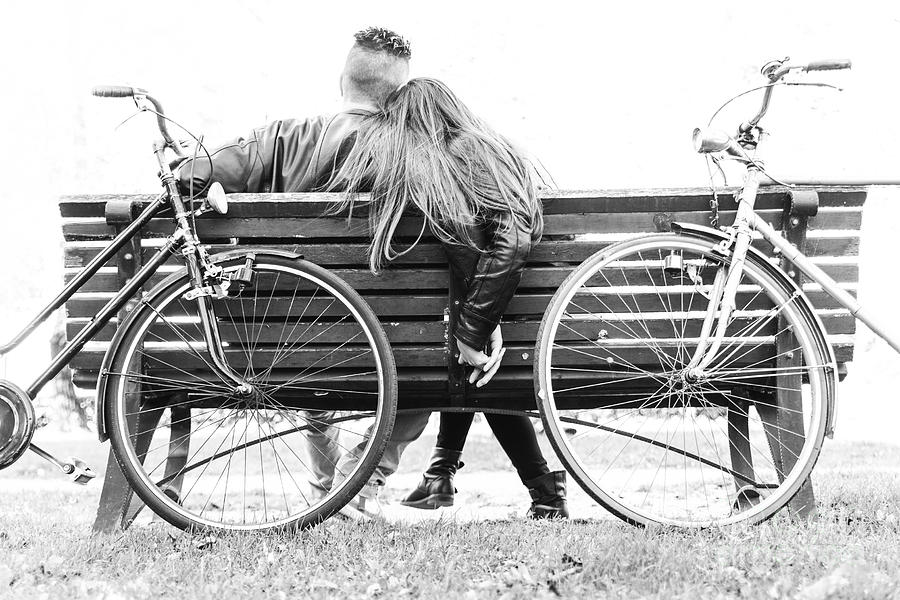 Date Photograph - Couple On A Bench - Two Lovers Sitting by Oneinchpunch