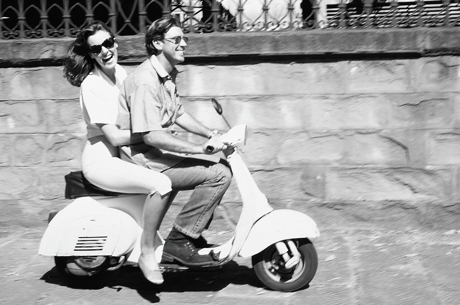 Couple On Motor Scooter B&w Photograph by Paul Viant