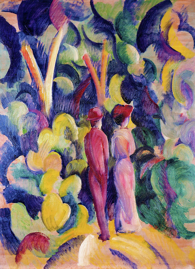Couple on the Forest Track - Digital Remastered Edition by August Macke