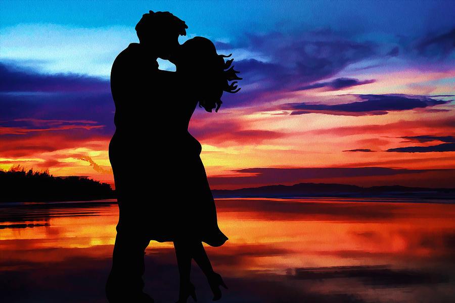 Couple Sunset Digital Art by Zaved Pervez