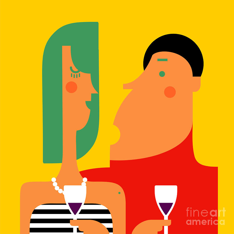 Glass Of Wine Digital Art - Couple Talking And Drinking Wine At A by Valovalo