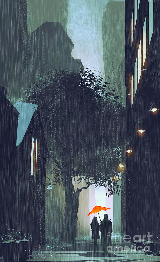 Love Digital Art - Couple With Red Umbrella Walking by Tithi Luadthong