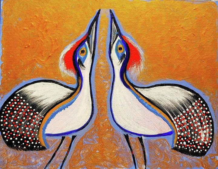 Courting Sandhill Cranes Painting