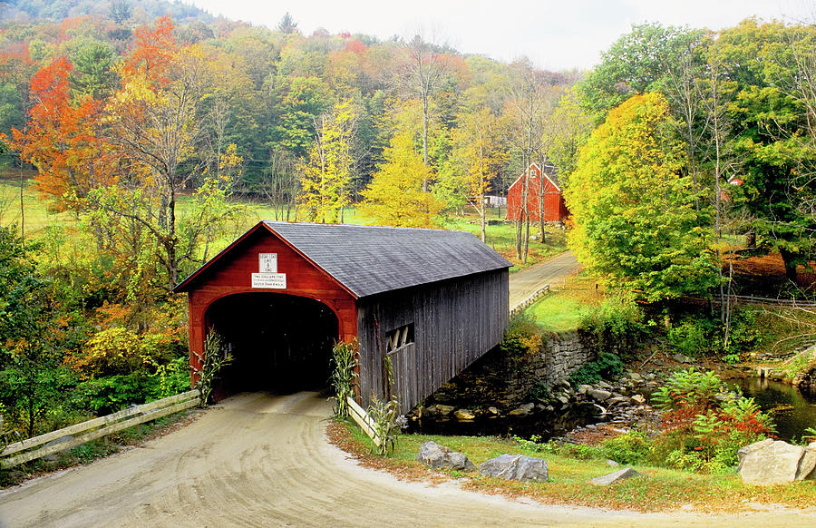 Covered Bridge On Green River, Vermont Photograph by Danita Delimont